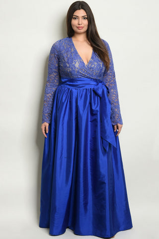 Blue Lace Overlay Taffeta Plus Size Gown