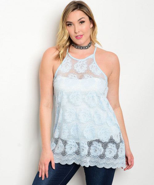 Women's Plus Size Sky Blue Lace Overlay Tank Top