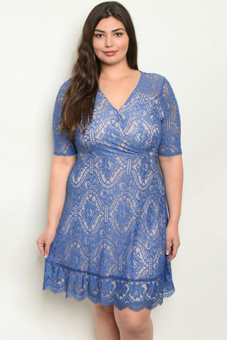 Blue Lace Plus Size Dress