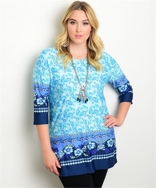 Women's Plus Size Blue Paisley Print Tunic Top