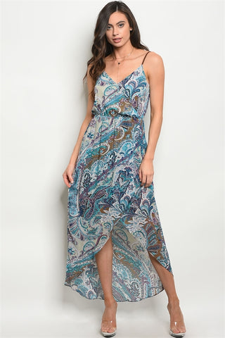 Blue Paisley Print High Low Maxi Dress
