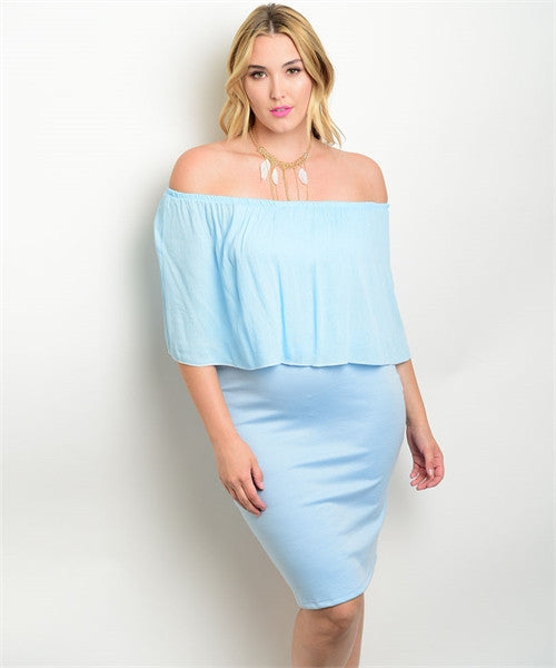Women's Plus Size Blue Bodycon Dress with Ruffled Accents