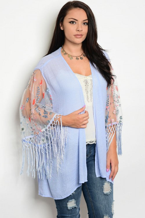 Soft Blue Plus Size Embroidered Kimono Cardigan with Fringe Accents