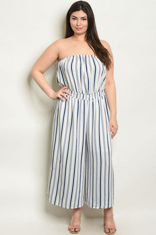 Blue Striped Strapless Plus Size Jumpsuit