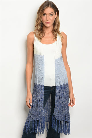 Blue and White Sweater Vest Cardigan with Fringe