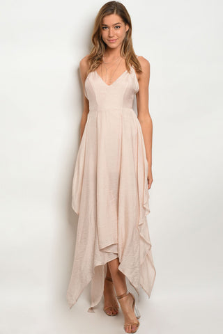 Misses Blush Pink Asymmetrical Hem Maxi Dress