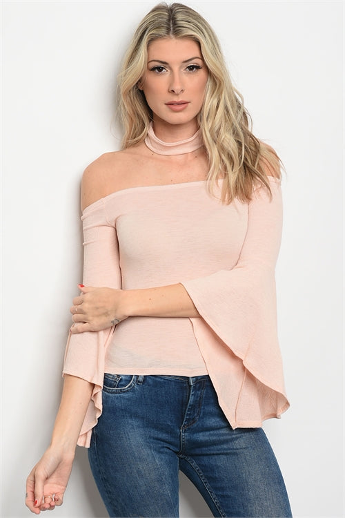 Misses Blush Pink Cold Shoulder Bell Sleeve Top