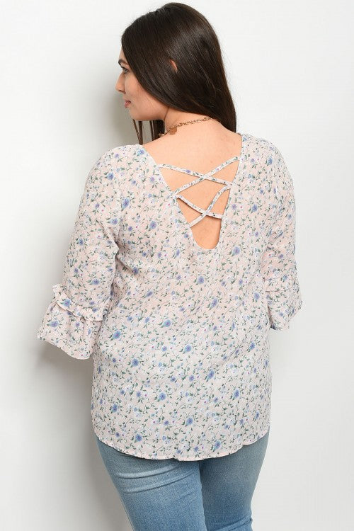 Blush Pink Floral Plus Size Top