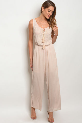 Blush Pink Embroidered Accent Jumpsuit