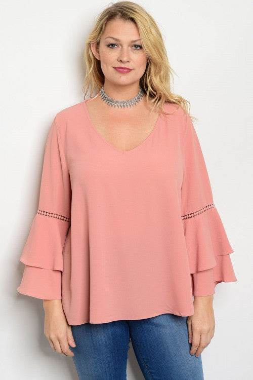 Women's Plus Size Blush Pink Boho Inspired Bell Sleeve Top