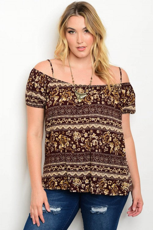 Brown and Beige Cold Shoulder Floral Plus Size Top