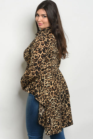 Brown Animal Print Ruffled High Low Plus Size Top