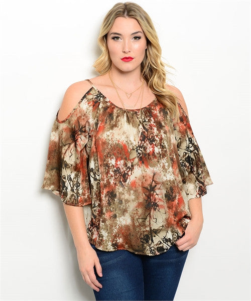 Women's Plus Size Brown and Rust Exposed Shoulder Top