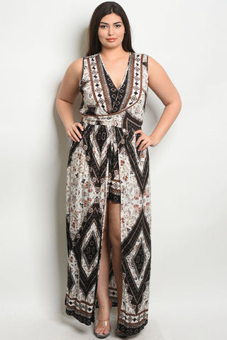 Brown Floral Plus Size Maxi Dress Romper