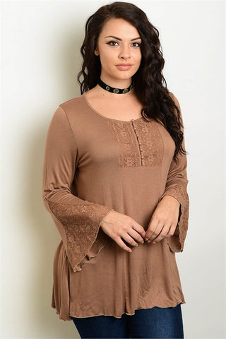 Brown Lace Accent Bell Sleeve Plus Size Peasant Top
