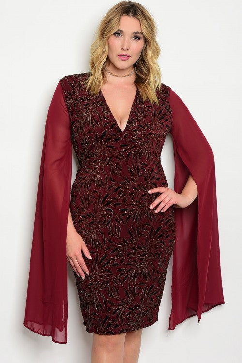 Burgundy with Gold Sparkle Bodycon Plus Size Cocktail Dress