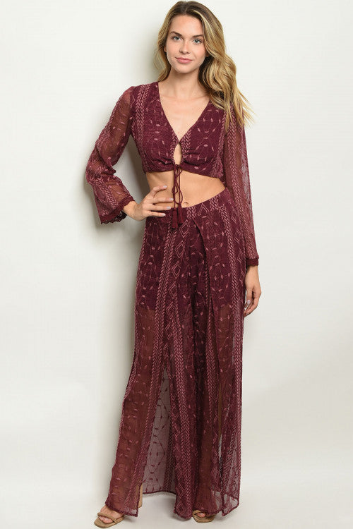 burgundy crop top and pants set