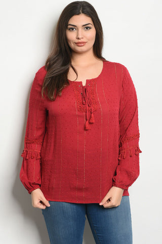 Burgundy Boho Inspired Plus Size Top