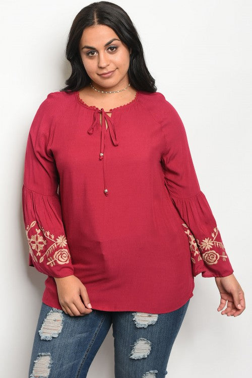 Burgundy Embroidered Bell Sleeve Plus Size Top
