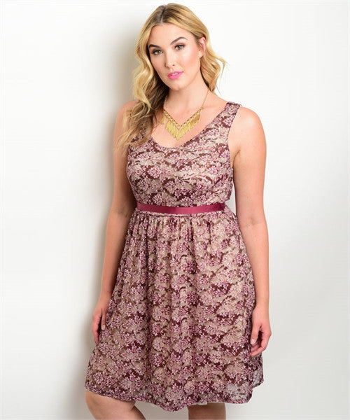 Women\'s Plus Size Burgundy and Cream Lace Overlay Dress