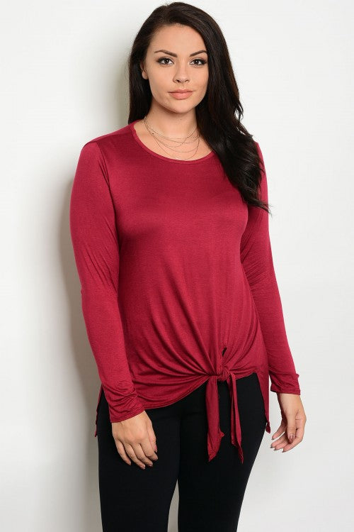Burgundy Long Sleeve Tie Accent Plus Size Top