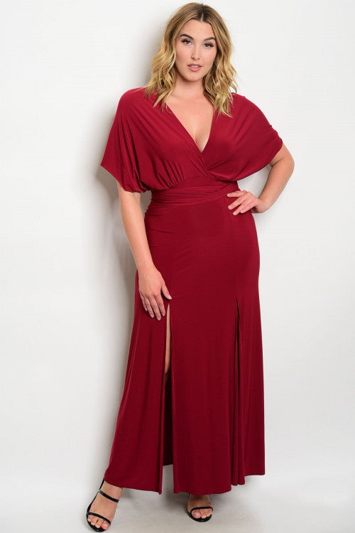 Women's Plus Size Long Burgundy Evening Gown Dress with Side Slits