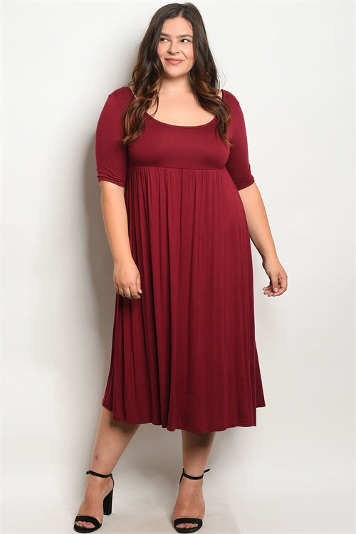 burgundy plus size maxi dress