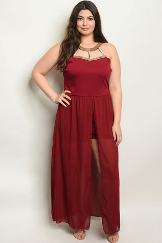 Burgundy Jeweled Plus Size Romper Maxi Dress