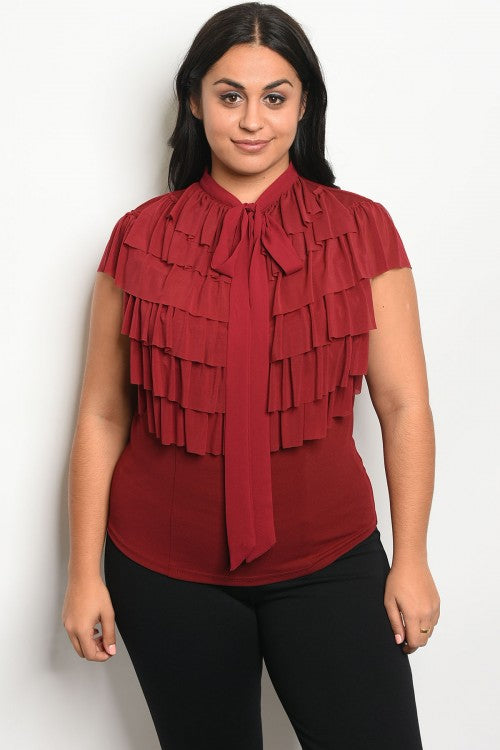 Burgundy Plus Size Stretch Top with Ruffled Accents