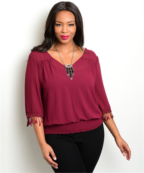 Women's Plus Size Burgundy Top with Fringe Accent Sleeves