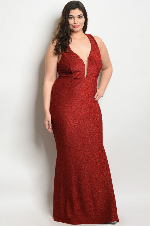 burgundy shimmer plus size evening gown