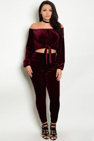 2pc Burgundy Velvet Top and Pants Set Plus Size