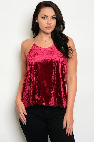 Burgundy Red Crushed Velvet Spaghetti Strap Top Plus Size