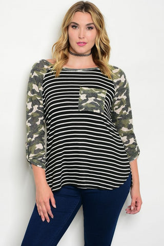 Cammo and Stripe Plus Size Jersey Knit Top