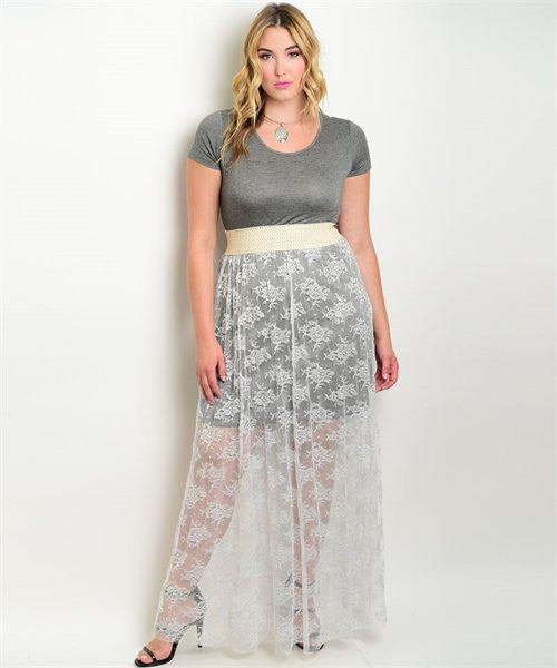 Women's Plus Size Charcoal Gray with White Lace Maxi Dress