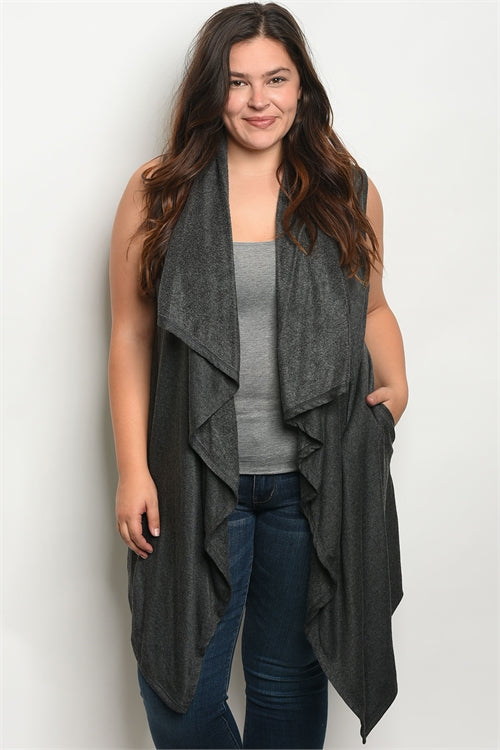 charcoal gray fleece lined plus size cardigan vest