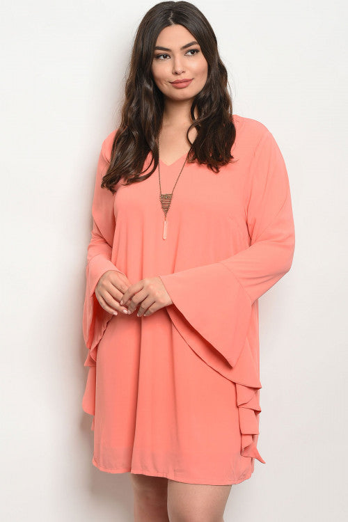 coral pink long bell sleeve plus size tunic dress