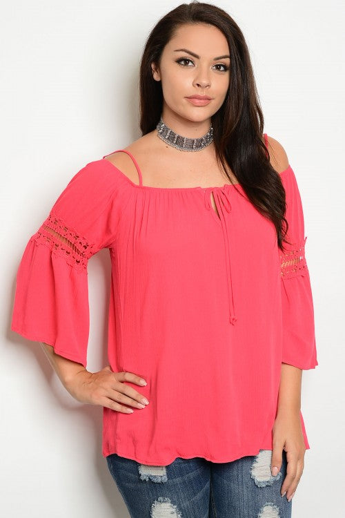 Coral Pink Plus Size Lace Accent Bell Sleeve Boho Top