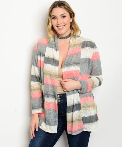 Women's Plus Size Coral Pink Multi Colored Cardigan