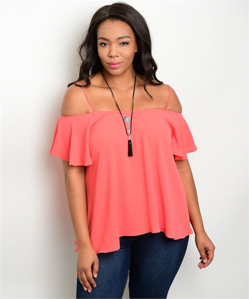 Women's Plus Size Coral Pink Cold Shoulder Top with Straps