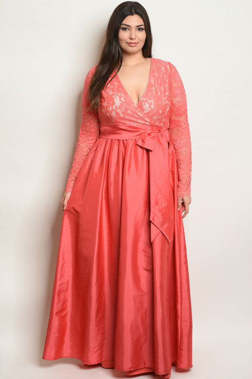 coral pink plus size taffeta gown