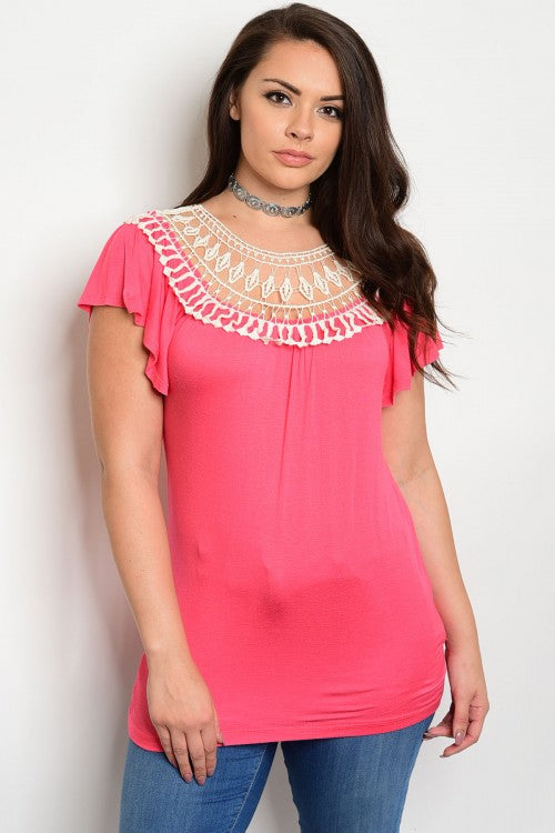 Coral Pink and Ivory Lace Accent Plus Size Top