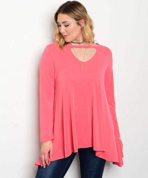 Women's Plus Size Coral Pink Tunic Top with Keyhole Neckline