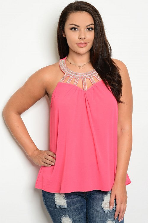 Coral Pink Plus Size Top with Rhinestone Accents