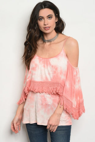 Coral Pink Tie Dye Fringe Accent Top