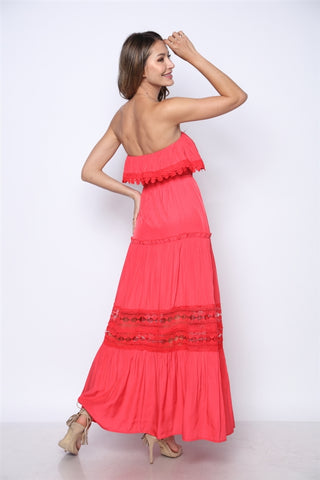 Coral Pink Strapless Boho Maxi Dress