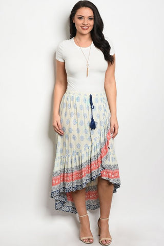 Cream Floral Asymmetrical Plus Size Maxi Skirt