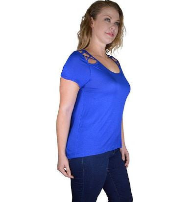 Women's Plus Size Blue Top With Criss Cross Shoulder Accents