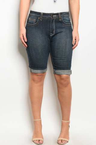 Plus Size Dark Blue Denim Bermuda Shorts