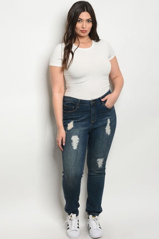 Dark Blue Distressed Denim Plus Size Skinny Jeans